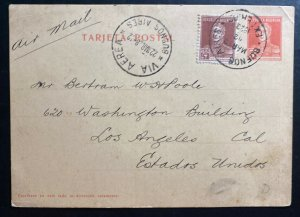 1928 Argentina Buenos Aires Stationery Postcard Cover To Los Angeles CA USA