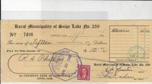 Canada Stamp 1942 Municipality of Snipe Lake Bank of Commerce Cheque Ref 26554