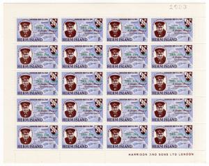 (I.B-JA) Cinderella Collection : Herm Island - Churchill Green Overprint 1/-