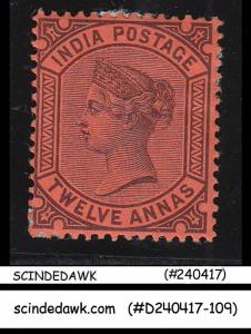 INDIA - 1888 12a QV SG#100 purple/red - 1V - MINT HINGED