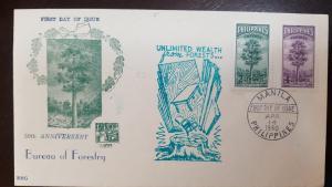 L) 1950 PHILIPPINES, RED LAUAN TREE, SCOTT A97, 2C, OVERPRINT, PURPLE, 4C, 50TH