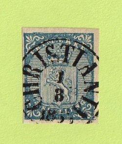 NOR SC #1 1855 Coat of Arms w/SON (CHRISTIANIA / 3-1-185(6?) CV $165.00