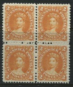 New Brunswick QV 1860 2 cents block of 4 unused no gum
