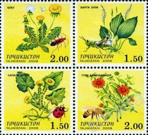 Tajikistan 2008  flowers insects MNH