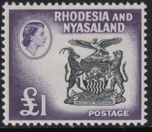 Sc# 171 Rhodesia & Nyasaland 1959-63 QE Coat of arms £1 issue MLMH $40.00 Stk#2