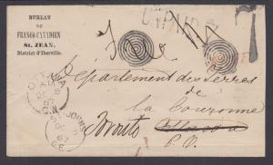 Canada, 1867 Forwarded Free Stampless Unpaid Cover, VF