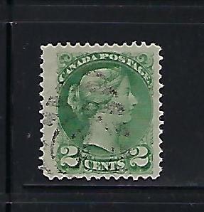 CANADA SCOTT #36 1870-89 SMALL QUEEN 2 CENT (GREEN)  USE
