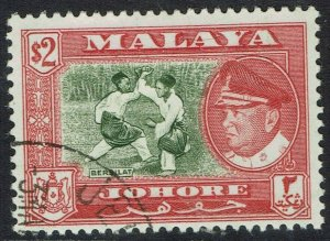 JOHORE 1960 SULTAN PICTORIAL $2 USED