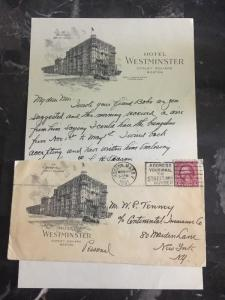 1931 Boston USA Commercial Cover Hotel Westminster To New York