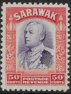 SARAWAK SG119 1934 50c VIOLET&SCARLET MTD MINT