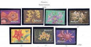 Malaysia Scott 191-197 MNH** Orchid Flower set