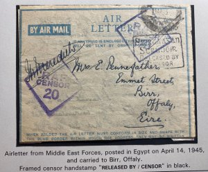 1945 Middle East Forces In Egypt Censored Air Letter Cover to Offaly Ireland