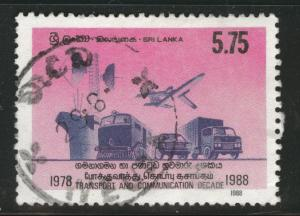Sri Lanka Scott 890 used 1988 communications stamp