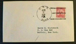 1931 US Navy Cover USS Zane to Buffalo NY