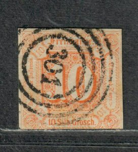 German States Thurn+Taxis Sc#14 Used/A-F, Signed, Cv. $875