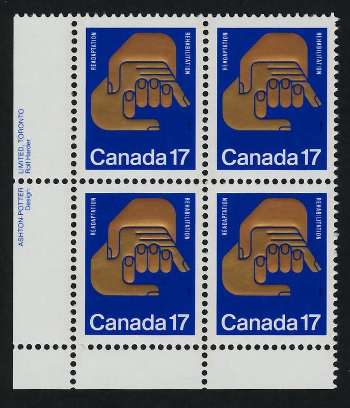 Canada 856 BL Plate Block MNH Helping Hands