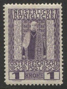 AUSTRIA 1908  Sc 124 1kr Franz Josef, F-VF, Mint VLH