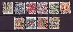 J6131 JLs stamps 1907 denmark hv set/10 used p1-10 $163.00v