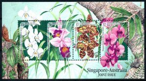 [79916] Singapore 1998 Flora Flowers Orchids Joint Issue Australia Sheet MNH