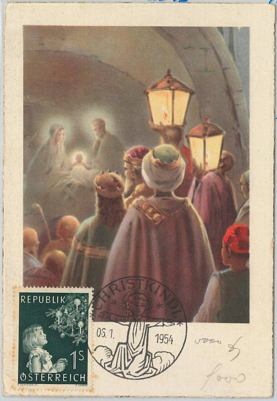 59100  - AUSTRIA - POSTAL HISTORY: MAXIMUM CARD 1954  -  RELIGION Xmas