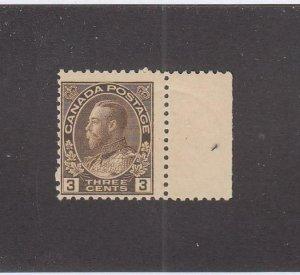 CANADA (MK6698) # 108 FVF-MNH  3cts 1918 KING GEORGE V ADMIRAL / BROWN CV $90