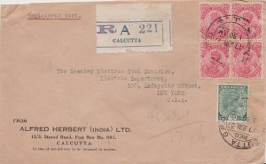India 1/2a and 1 1/2a (4) KGV 1937 Calcutta G.P.O. Registered to New York, N....