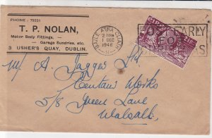 Ireland Eire 1948 TP Nolan Motor Post Early for Xmas Slogan Stamp Cover Rf 34949