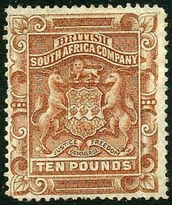 Rhodesia SG13 1892 Ten Pound Fresh Mint (part gum) Missing corner Perf Cat 2750