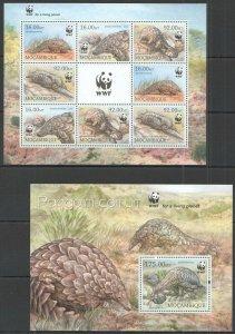 ST2910 2013 Mosambik Fauna Wilde Tiere Wwf Pangolim-Comum Smutsia KB + Bl MNH