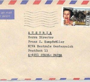 KENYA Air Mail Cover *Eldoret* Royalty MIVA MISSIONARY Austria c1993 CA404