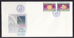Solomon Is., Scott cat. 895-896. Year of the Dragon issue. First Day Cover. *