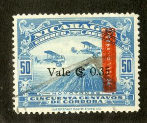 NICARAGUA C118 USED SCV $6.50 BIN $2.25 AIRPLANES
