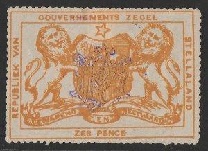 BECHUANALAND Stellaland 1886 Arms Revenue 6d orange, monogram h/s.