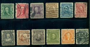 US #300-11 1¢ - $1.00 Complete set except for 2 high values, used, Scott $179.50