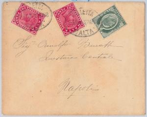 MALTA -  POSTAL HISTORY - COVER with MIXED FRANKING to ITALY 1903