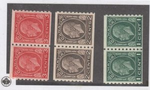 CANADA (KSG912) # 205-207 VF-MNH 1-3cts  3 KGV MEDALLION COIL PAIRS CAT VAL $245