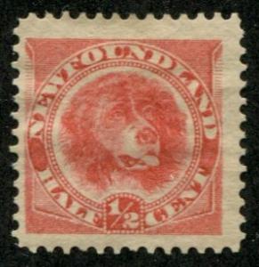 Newfoundland SC# 57 SG#62 Newfoundland Dogl 1/2c MH SCV $80.00