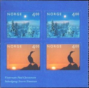 Norway #1243b, Complete Set, Block Pane of 2 Each, 1999, Never Hinged