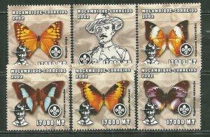Mozambique MNH 1600A-F Butterflies & Scouts 2002 SCV 9.50