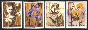 Zambia. 1992. 595-98. flowers, flora. MNH.