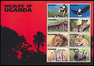 Uganda 1394, MNH, Wildlife of Uganda miniature sheet