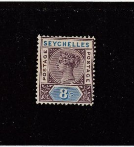 SEYCHELLES (MK4351)  # 6a  VF-MLH  8c QUEEN VICTORIA  /BROWN-VIO & BLUE  CAT $15
