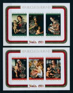 [99189] Burundi 1971 Christmas Paintings Madonna UNICEF +2F 2 Imperf Sheets MNH
