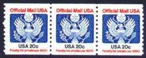 MALACK O135 VF OG NH, plate number 1, strip of 3 b771