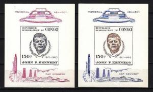 Congo, Dem. Rep. Scott cat. 591-592. President Kennedy on 2 IMPERF s/sheets.