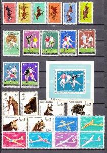 Z2314 1974-6 romania sets mh #2475-80,2493,2494-2500,2644-9,c206-11