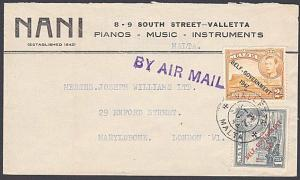 MALTA 1954 Airmail cover to London - GVI Self Govt overprints..............53806