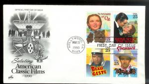 UNITED STATES FDC 25¢ Classic Films Block of 4 1990 ArtCraft