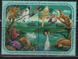 Offices in Geneva, Switzerland 198A, BLOCK OF 4, MNH,1991 Animals