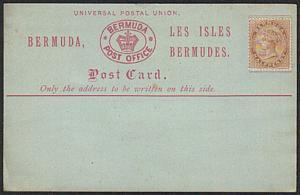 BERMUDA QV ½d on formular postcard - fine unused